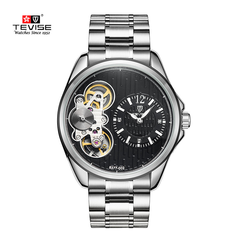 TEVISE Luxury Brand Tourbillon Men Automatic Mechanical Watch Full Steel Stylish Skeleton dial Wrist Watches Clock Male Relogio shenhua brand black dial skeleton mechanical watch stainless steel strap male fashion clock automatic self wind wrist watches