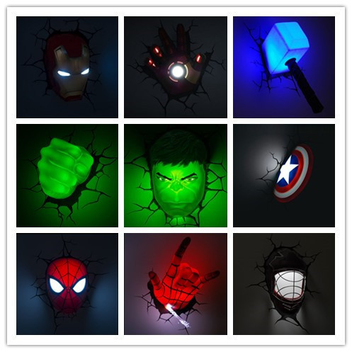 Creative Ironman Spiderman Captain America 3d Wall Lamp Amazing Baby Room Decoration Night Light Lampada De Parede Xmas Gift Gift Magazine Light Surroundgift Box Christmas Lights Aliexpress