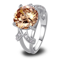 Free Shipping Fashion Champagne Morganite 925 Silver Ring Size 6 7 8 9 10 11 12 Dazzling Jewelry For Women Wholesale