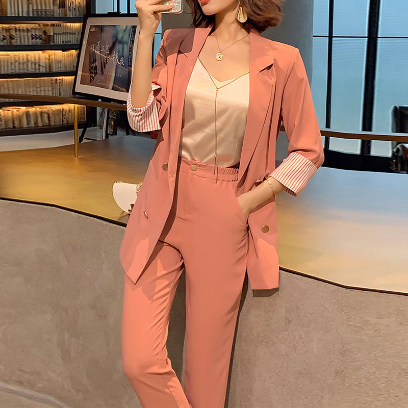 Vintage Double Breasted Women Pant Suit Three Quarter Notched Blazer Jacket High Waist Pant 2019 Summer Office Wear Women Suit