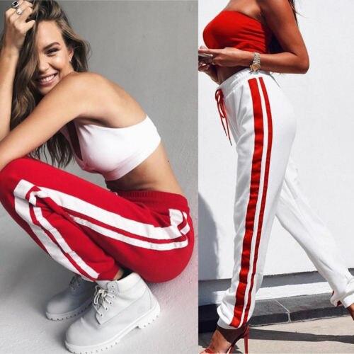 2017 New Women   Capris   Plain Lace up Stripe Red Stretch Ladies Ankle Length Long   Pants   Plus Size