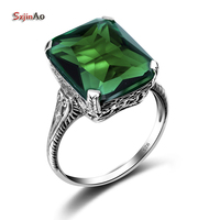 Szjinao 1 Pcs New Geometry Real 925 Sterling Silver Ring Green Emerald Mosaic Vintage wedding luxury Brand Fine Jewelry Gifts