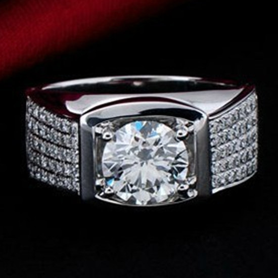 Amazing Big Diamonds Ring 5CT Classic Original Sterling Silver Man Ring Synthetic Diamonds Engagement Men Ring Male Jewelry