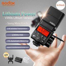 Em Estoque Godox Flash Da Câmera TTL HSS V350s Função Atualizado tt350s flashes godox Build-in Bateria Li-ion Para Sony câmeras