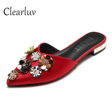 2019 Summer Slippers Womens Korean Fashion Floral Sequins Rhinestone Satin Flat Casual Sandals Silk C0825