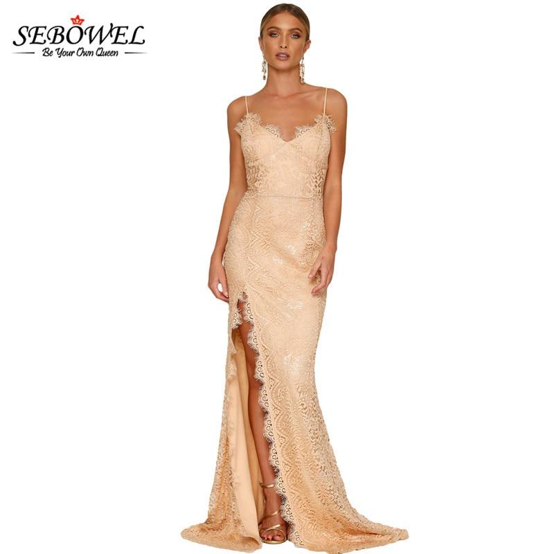 SEBOWEL Summer Dress 2017 Long Lace Wedding Party Gown Maxi Dress Women One Side Slit Sexy Backless Bodycon Club Dress Vestidos