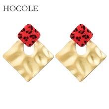 HOCOLE Korean Velvet Leopard Print Drop Earrings Geometric Hollow Square Dangle For Women Statement Jewelry Brincos