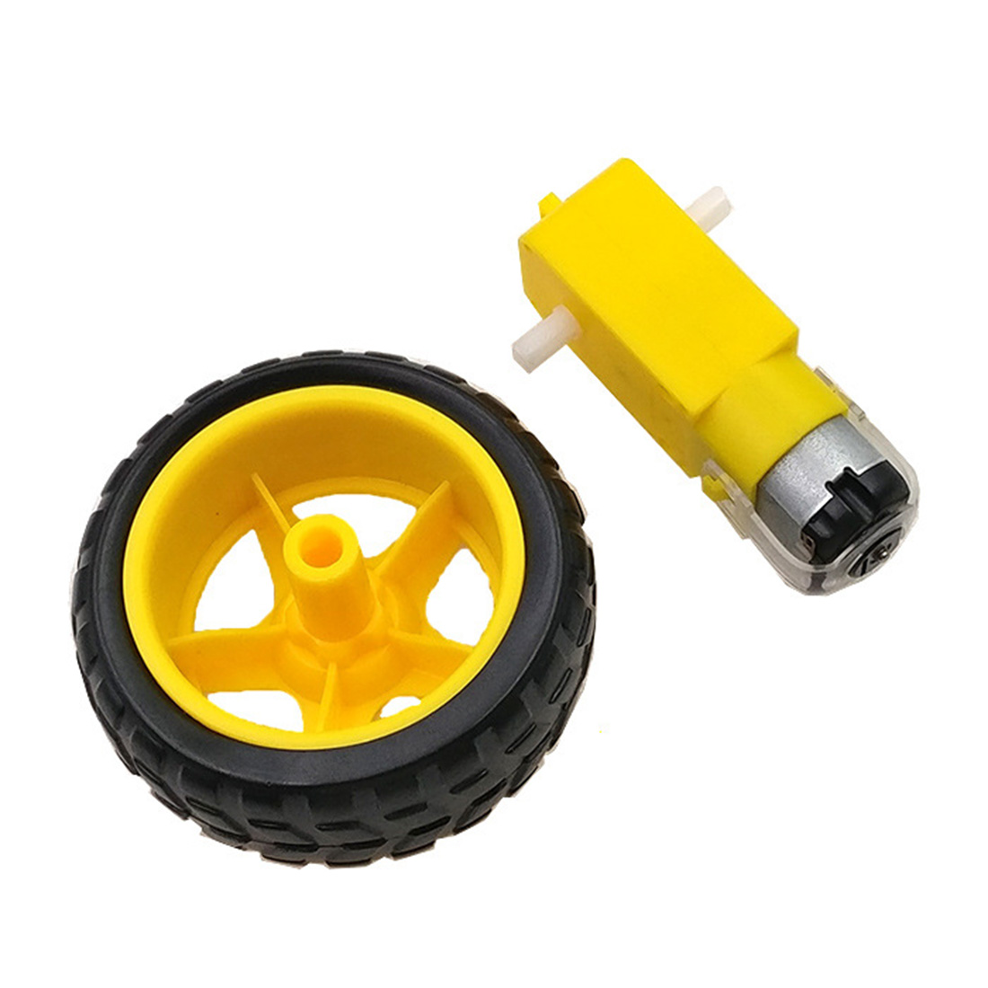 Drop Shipping Hot 2Pcs Small Smart Car Tyres Wheel Robot Chassis Kit With DC Speed Reduction Motor