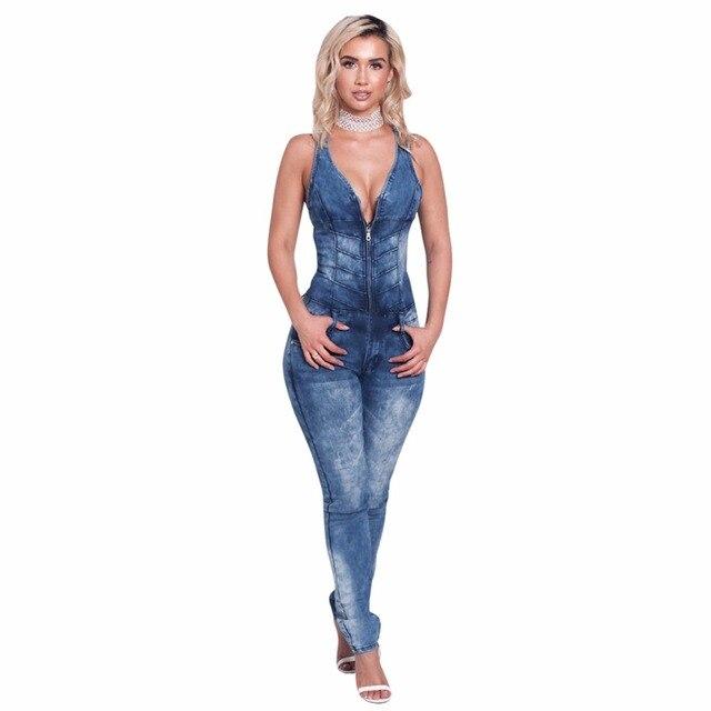 141dd592b9 Frauen Jeans Overalls Denim Lange Hosen Sexy Tiefem V Ansatz Dünnen Overalls  Overall Mädchen Sleeveless Clubwear
