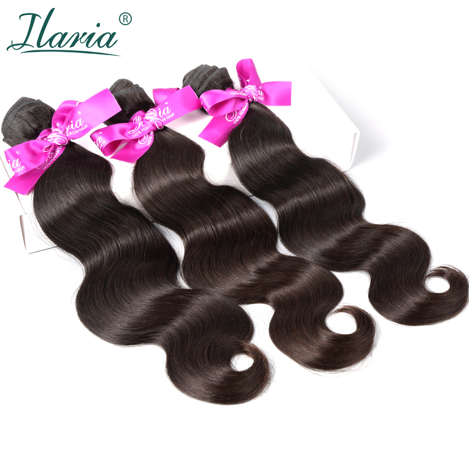 ILARIA HAIR Peruvian Human Hair Body Wave Bundles Lots 100% Unprocessed Virgin Human Hair Weaves Natural Color Hair Extensions 3