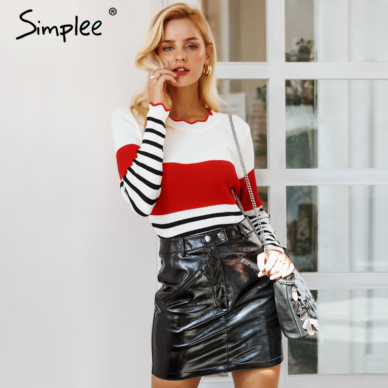 Simplee Ruffles o neck stripe women sweater Long sleeve slim fit sexy pullover women 2018 Autumn winter casual jumper female
