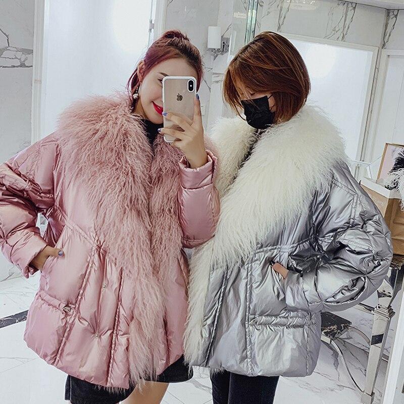 Duvet de canard veste femmes Hiver manteaux chaqueta mujer court parka femme avec réel moutons de fourrure vêtements 2018 oversize abrigos mujer