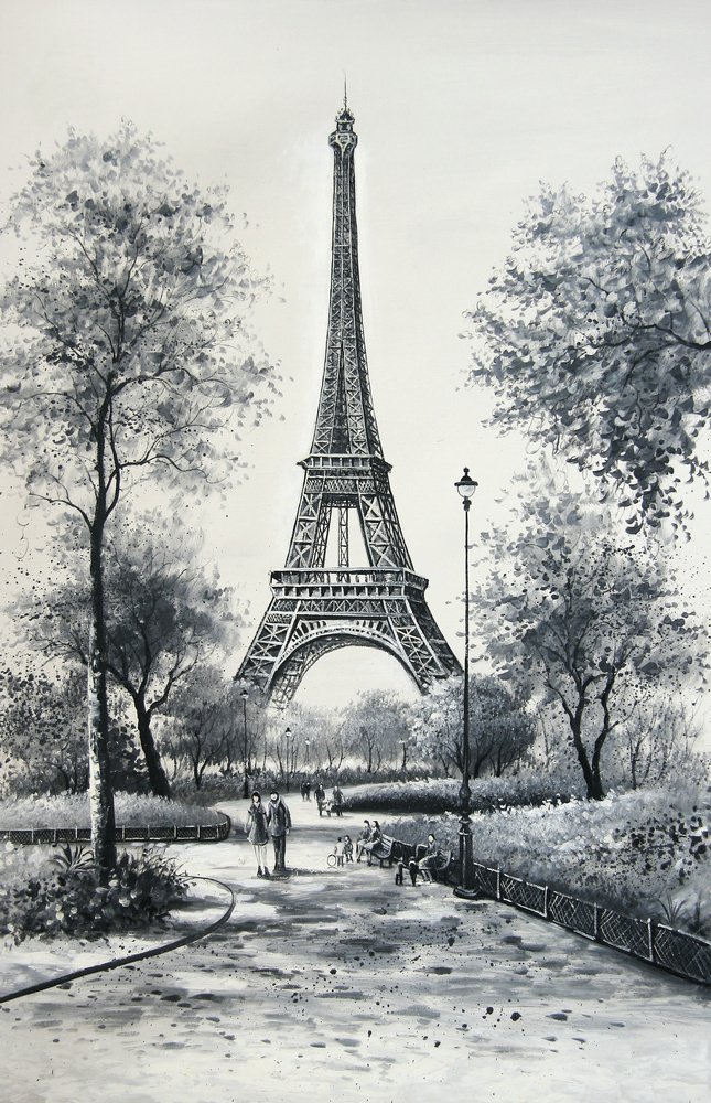 black and white paris eiffel tower scenery oil painting