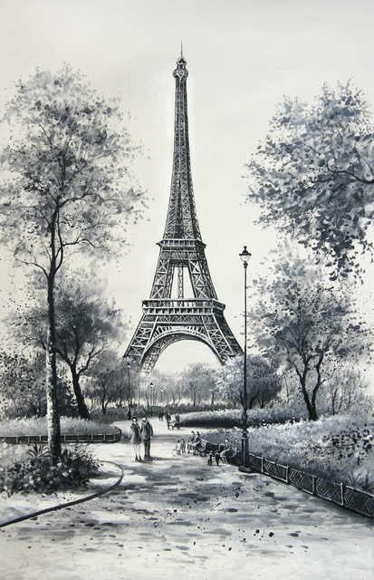 Black and white paris eiffel tower scenery oil painting art reproduction canvas prints art print home