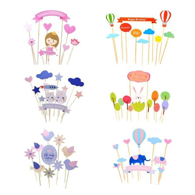 Colored Cupcake Cake Topper Paper Elephant Cartoon Card Flags Wedding Birthday Party Baking Halloween Christmas CHW9681
