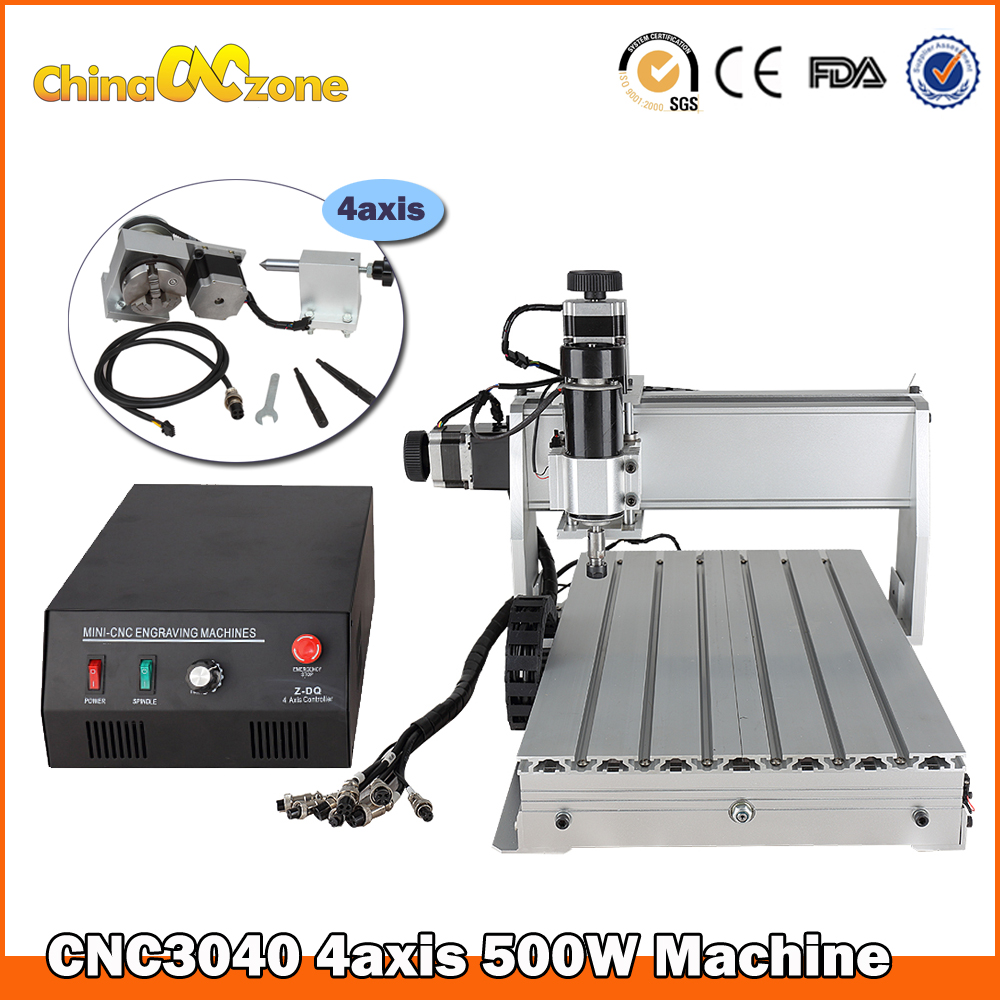 mini router cnc 3040Z-DQ 4axis mini CNC Router Machine with Ball Screw Rotation CNC Engraver Milling Drilling Cutting Machine