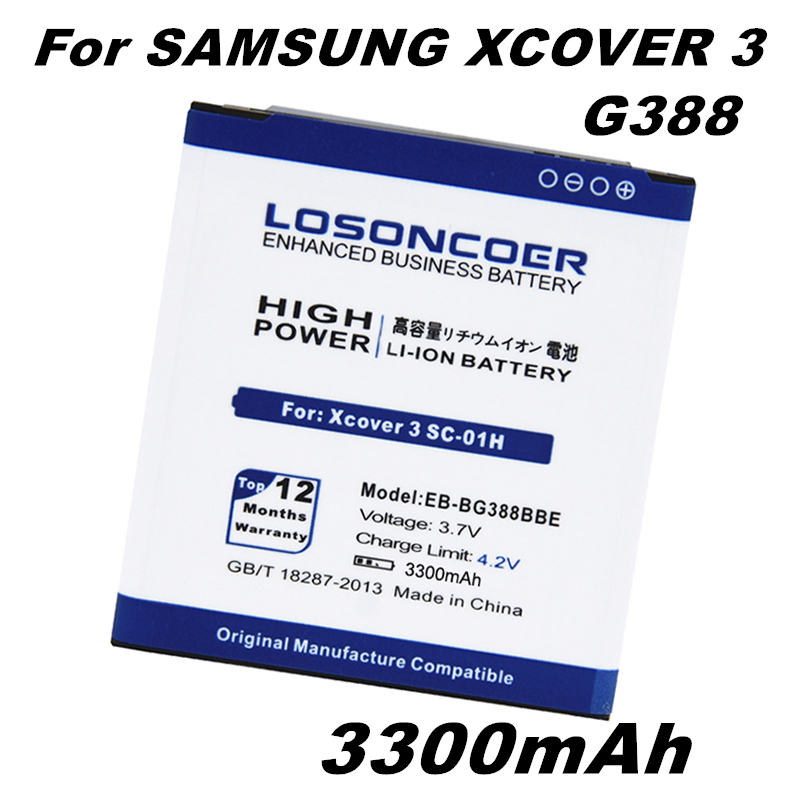 LOSONCOER Battery Samsung 3300mah Galaxy For Xcover 3-g388/G388f/G389f/Sc-01h