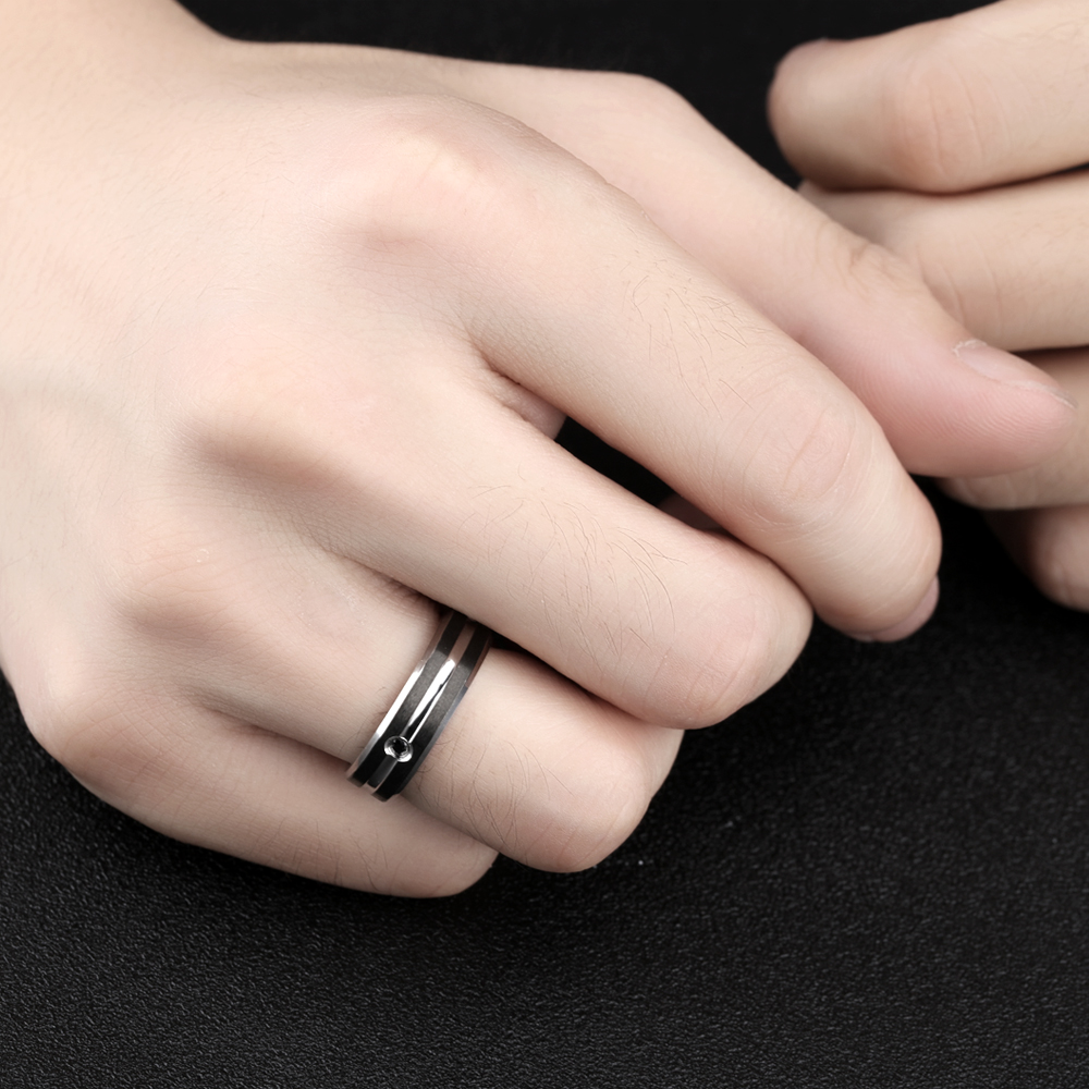 NºStainless Steel Men\'s Ring Personality Domineering Mosaic zircon ...