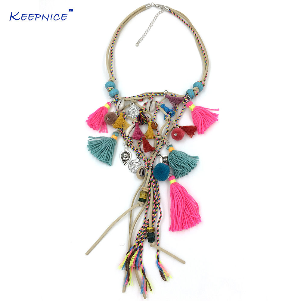 New Boho Handmade Jewelry Past Present Future Necklaces Bohemia Tassel Pendant Necklace Multi-Layer Chorkers Necklaces