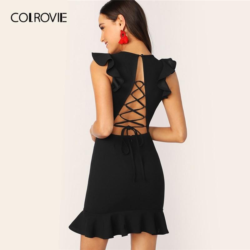 26a67b855ac COLROVIE черное сексуальное бюстье вечерние платье звезда флок милые женские  сетчатые накладки Макси летнее платье без