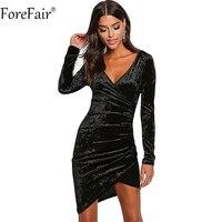 ForeFair Sexy Com Decote Em V Ruched Bodycon Clube Vestidos de Festa Plus Size Mulheres Vermelho Preto Bainha Outono Inverno Vestido De Veludo