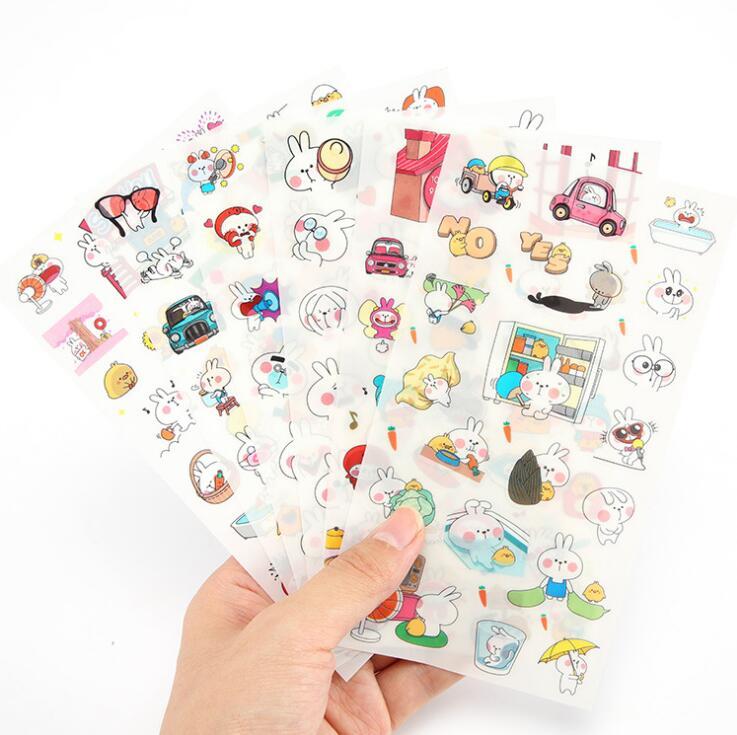 все цены на 6 pcs/pack Amazing Rabbit Daily Life Sticker PVC Cartoon Stickers Diary Sticker Scrapbook Decoration PVC Stationery Stickers