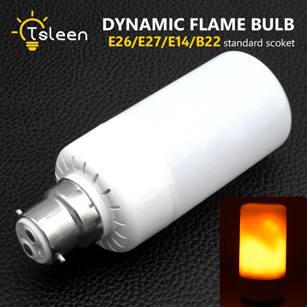 TSLEEN E27 E26 E14 B22 3528SMD LED lamp Dynamic Flame Effect Fire Light Bulbs Flickering Emulation flame Lights 1800K AC85-265V