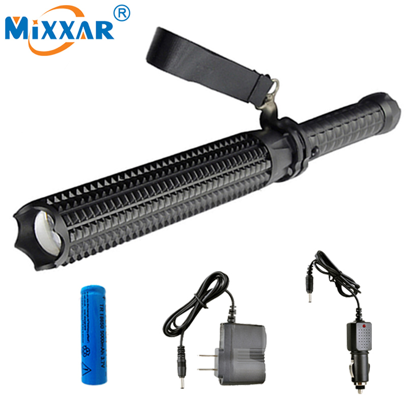 NZK30 Powerful 9000LM Led Flashlights 18650 CREE XM L2 Telescopic baton Self defense Police Patrol LED Rechargeable Torch Lamp