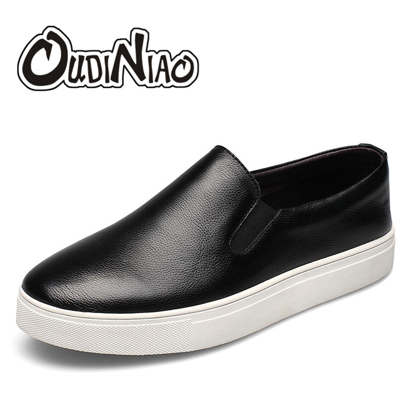 OUDINIAO White Mens Shoes Casual Large Sizes Spring Round Toe Slip On Shoes Men Loafers Genuine
