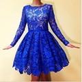 Blue Lace Cocktail Dresses Long Sleeves A Line Scoop Royal Blue Lace Dubai Short Party Dress Short Cocktail Short Gowns