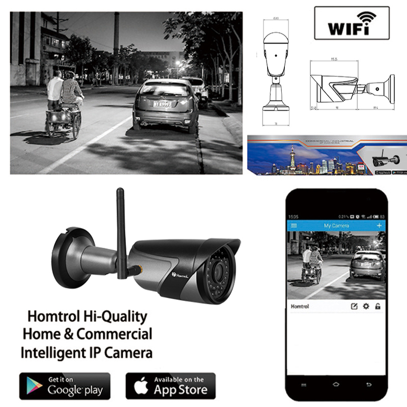 IP66 Waterproof Outdoor Bullet IP Camera Wifi 802.11 b/g/n Wireless IP Cam 720P ONVIF Camera With Bracket and power adapter цена