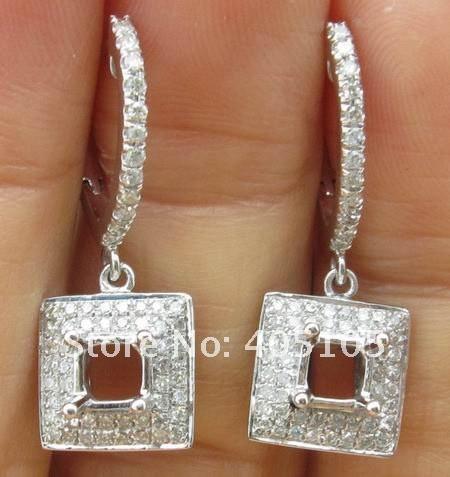 "продвижение 4.0 мм огранка ""принцесса"" 14 карат белое золото & 0.52 карат алмаз маунт полу серьги настройки"