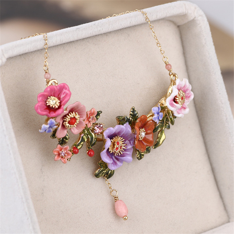 Warmhome Trendy Jewelry French Violet Flowers Gem Enamel Glaze For Women Necklace trendy faux gem oval necklace for women