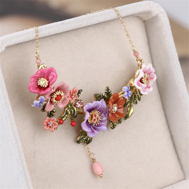 Warmhome Trendy Jewelry French Violet Flowers Gem Enamel Gla
