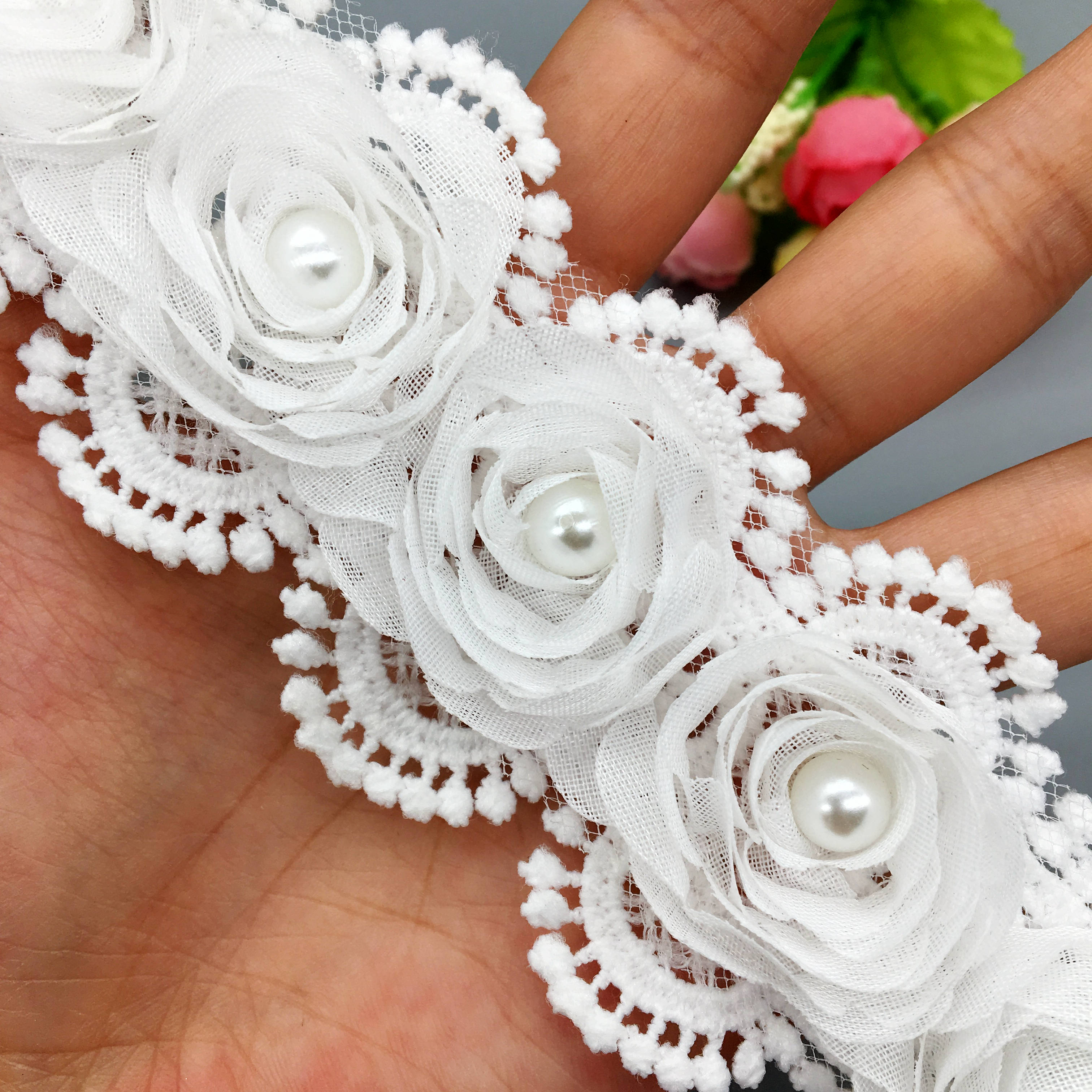 1yd White Vintage Cotton Pearl Beaded Lace Chiffon Trim Wedding Sewing Craft DIY