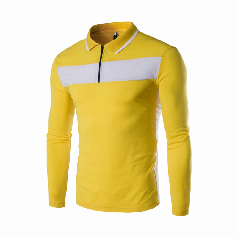 Fashion Men   Polo   Shirt Solid Color Slim Fit   Polo   Men Long Sleeve Cotton Casual   Polos   Shirt Mens