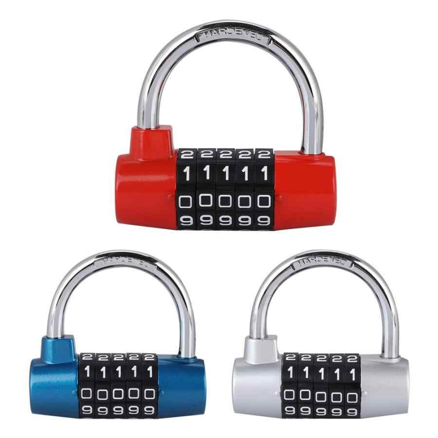 Zinc alloy 5 Digit Code Lock Padlock U-shaped Suitcase Door Combination Lock