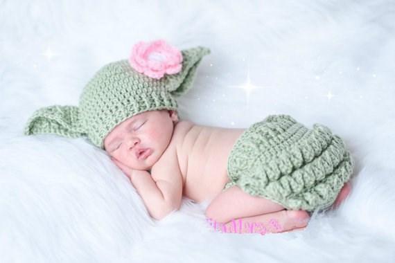 Baby Yoda Hat & Diaper Cover SET Star Wars Hat Newborn ...