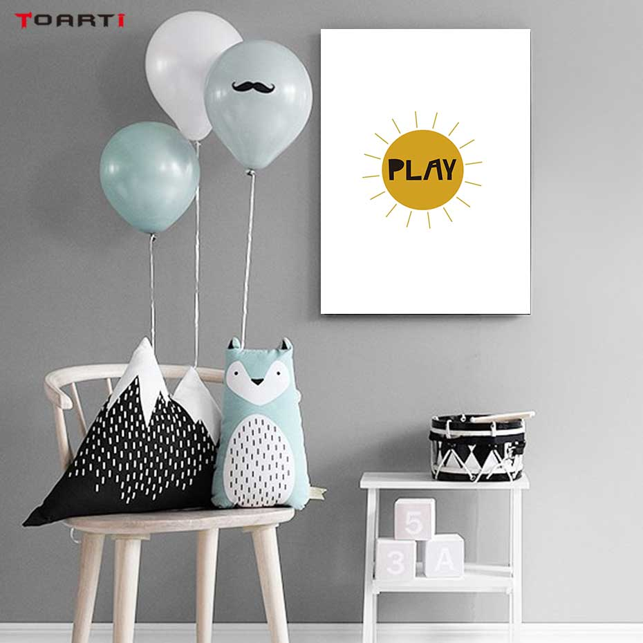 Image 5 - Cartoons Children Prints Posters Rainbow Moon Clouds Canvas Painting On The Wall Sun Art Picture For Baby Kids Bedroom Home Deco-in Painting & Calligraphy from Home & Garden