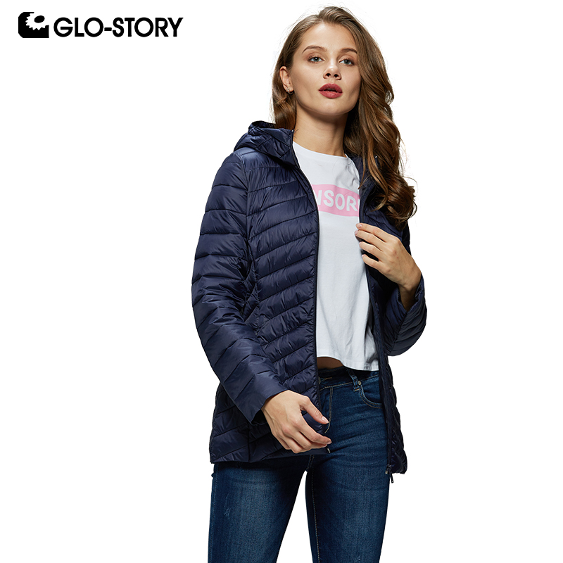 GLO-STORY 2019 New Women Solid Hooded Thin   Parkas   Winter Coats Slim Fit Winter Jackets Ladies CoatS For Female WMA-8004