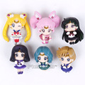 Sailor Moon Taza de Té Decoraciones Mini pvc Figura Juguetes 6 unids/set Tsukino Usagi Chibi Usa Sailor Plutón Urano Neptuno Saturno en caja