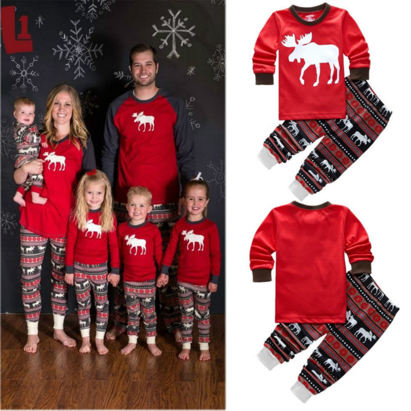 Family Matching Outfits Set Christmas Pajamas Deer Adult Women Kids Baby Reindeer Sleepwear Nightwear Clothing QZ030