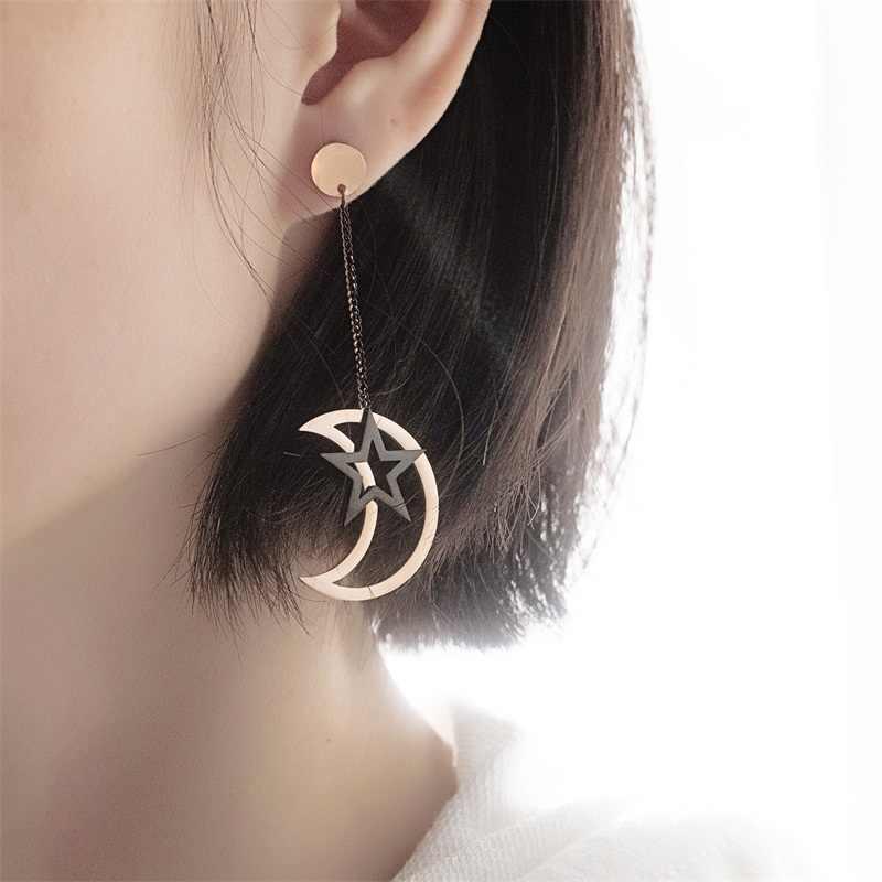 AZIZ BEKKAOUI Thép Không Gỉ Mặt Trăng và Ngôi Sao Bông Tai cho Phụ Nữ Dài Rose Gold Drop Dangle Bông Tai Đồ Trang Sức Nữ Món Quà