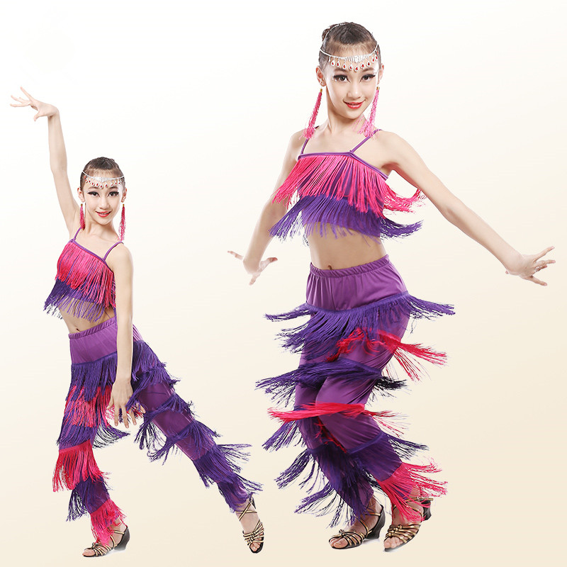 998aa224575e9 Enfants de Costumes De Danse Latine Filles Gland Salsa Samba Robe Salle De  Bal Tango Performance Flamengo Robe Livraison Gratuite 18