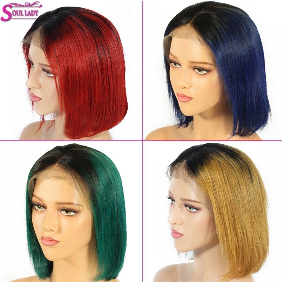 Ombre cheveux humains dentelle avant Bob perruque Remy cru indien cheveux perruque 150% densité pré plumé 13x4 dentelle avant Bob perruque pour les femmes noires