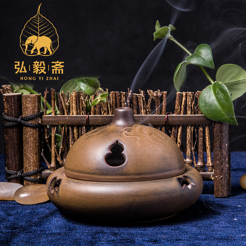 Hong Yizhai sandalwood aloes tower incense burner with Xiangxiang disc ceramic ornaments Fulinmen