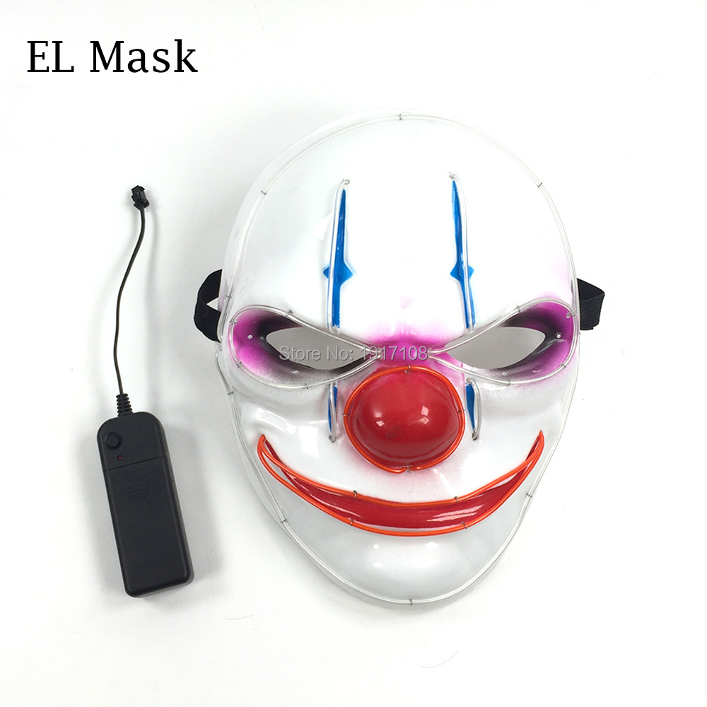 2017 New Glittery Halloween V Vendetta Mask LED Mask glowing Neon EL ...