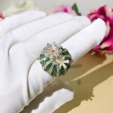 Dazz дубайское Брендовое кольцо с изображением опунции, зеленые цветы, 900 Блестящий Циркон для африканских женщин, уникальные роскошные аксессуары, подарок