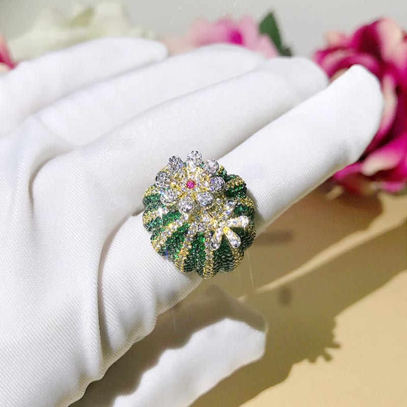 Dazz Dubai Brand Ring Prickly Pear Design Green Flowers 900 Shiny Zircon For African Womens Unique Luxury Accessories Gift 2019