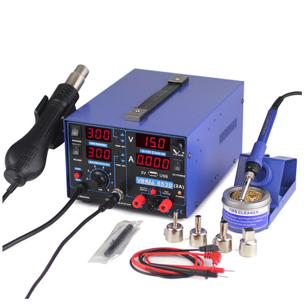 5 в 2A паяльная станция цифровой дисплей Тепловая пушка Triad Электрический вентилятор горячий воздушный пистолет паяльник USB SMD DC блок питания